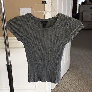 Grey ribbed stretchy basic short sleeve tee